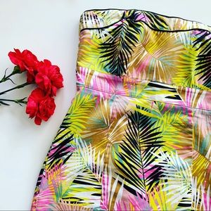 H&M Tube Mini Dress Palm Print Size 10